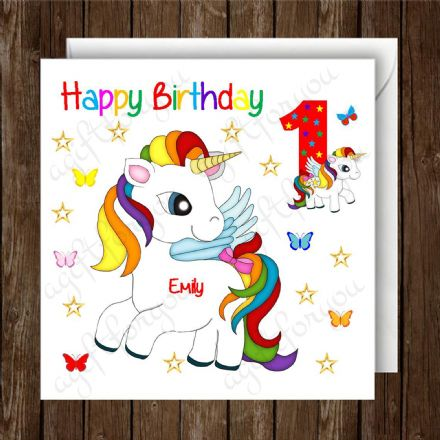 Personalised Girls Unicorn Birthday Card